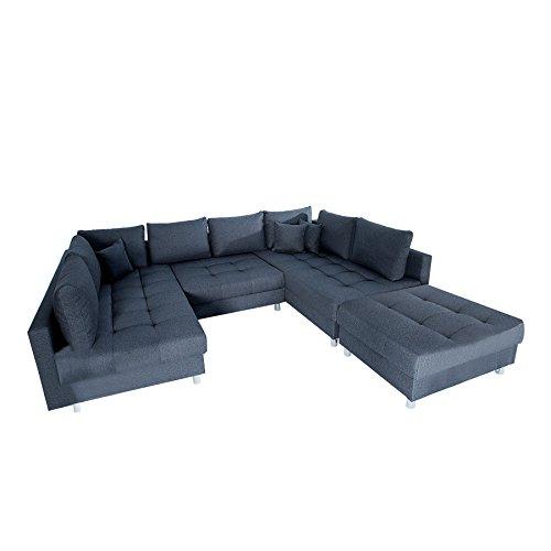 Invicta Interior Moderne XXL Wohnlandschaft Kent 305cm anthrazit grau Federkern mit Schlaffunktion Sofa inkl. Hocker und Kissen Schlafsofa Eckcouch