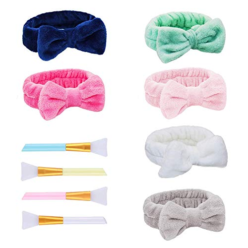 GG bond 6 Pcs Spa Hair Bands Head Wraps for Shower Makeup Bow Hair Band Facial Elastic Soft Coral Fleece Turban Cute Towel Headbands with 4 Beauty Brushes