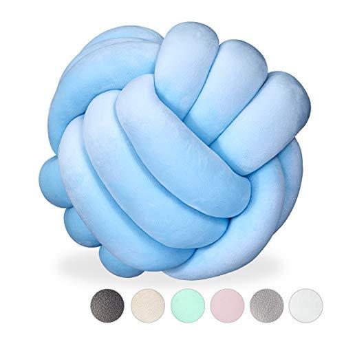Relaxdays Knotenkissen, geknotetes Kissen für Sofa, Bett, dekorativ, skandinavisch, Zierkissen Knoten, Ø 25 cm, hellblau