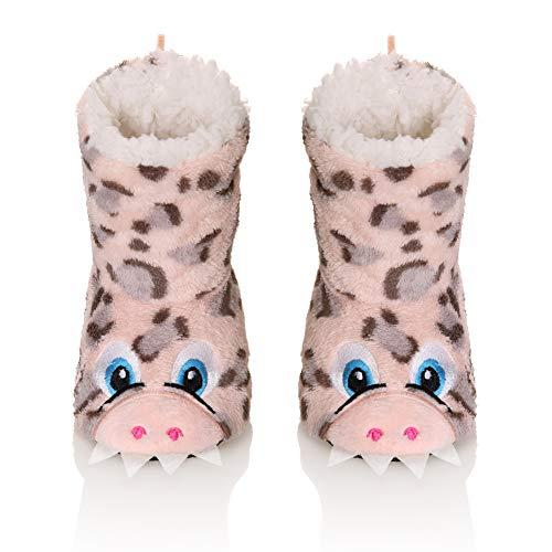 Kids Boy Girl Animal House Slipper Soft Warm Winter Plush Non-Skid Indoor Slipper Shoes Boot Socks(Pink,6-7 Years)