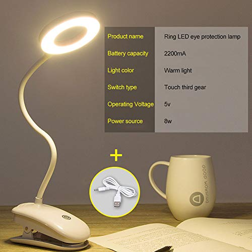 Lámpara LED plegable con forma de anillo táctil, recargable, con anillo de lectura, con una abrazadera antideslizante, 3 niveles de brillo, perfecto para dormitorio
