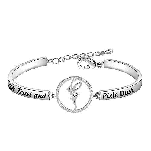 Faith Trust and Pixie Dust Charm Bracelet Tinkerbell Bracelet (Faith Trust JL)