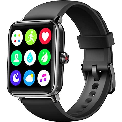 Dirrelo Smartwatch Hombre Mujer 2021, Reloj Inteligente Hombre y Mujer con Rastreo GPS con 14 Modos Deportivo, Monitoreo de Estrés y Oxígeno en Sangre, para Teléfonos iOS iPhone Android Xiaomi, Negro