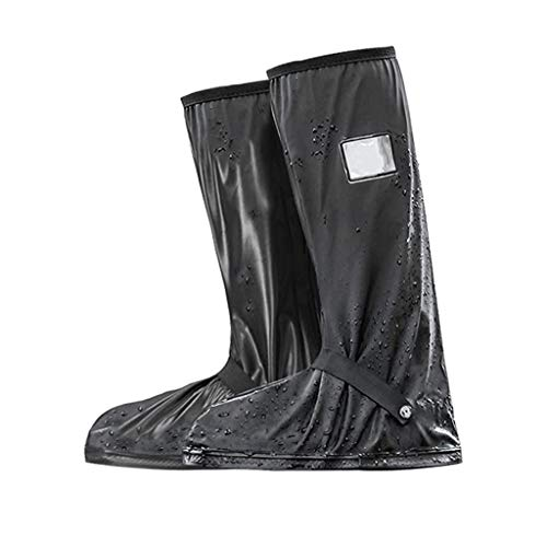 LALAWO wasserdichte Überschuhe, rutschfeste Regenfeste Schuhabdeckung Mit Reißverschluss, Fahrradfahren Radfahren Warme Winddichte Überschuhe Regen Schneeschuhschutz Für Männer Frauen,L