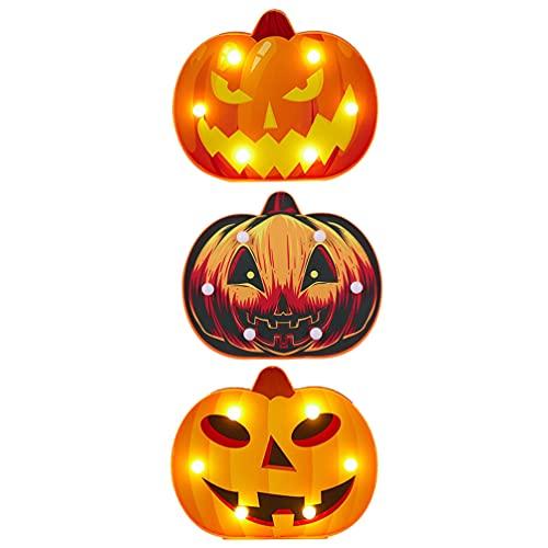 Veemoon 3 Piezas de Lámpara de Noche de Calabaza Malvada con Pilas para Decoración del Hogar de Halloween (Sin Batería)