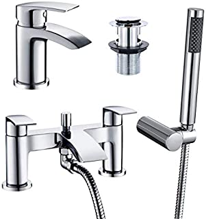 [Basin Tap + Bath Shower Tap] Hapilife Bathroom Set Waterfall Chrome Sink Mixer Tap and Bath Filler Tub Mixer Tap with Sho...