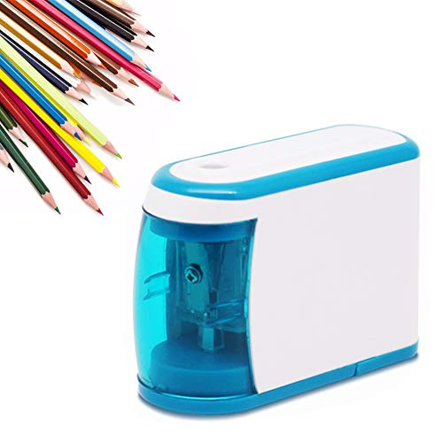Electric Pencil Sharpener Stationery Pencil Sharpeners Portable Pencil Sharpener Color Pencil Cutter with Automatic Stop and Battery Powered Fast Sharpen for Students Artists Classroom Office, Blue