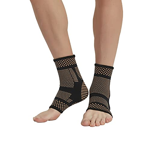 Copper Infused Ankle Braces Foot Support Compression Sleeves for Men and Women, Ankle Stabilizer for Fasciitis, Sprained, Sports Protection, 1 Pair