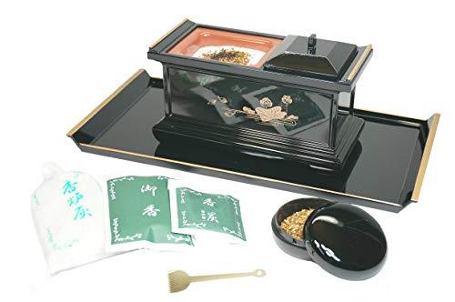 焼香セット 7.0寸 〔香炉、焼香盆、香炉灰、灰ならし、香炭、御香、香合の7点セット〕 黒色セット [仏具]