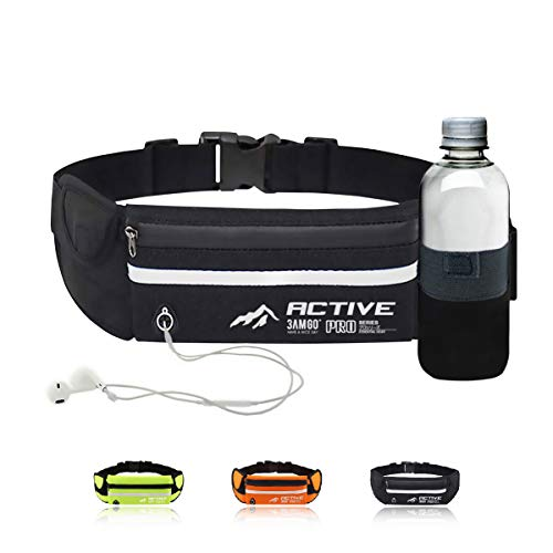 3AMGO Running Fanny Pack Belt - Jogging Cycling Hiking Walking Gym Outdoor Sports Activity Waist Pack for Personal Essentials Small Light Weight Highly Visible Reflective (Classic Black)