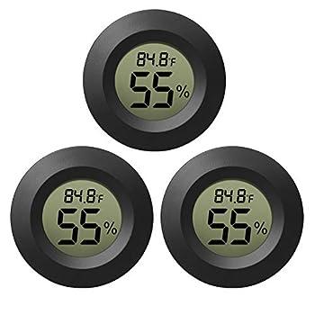 EEEKit Hygrometer Thermometer Digital LCD Monitor Indoor Outdoor Humidity Meter Gauge for Humidifiers Dehumidifiers Greenhouse Basement Babyroom Black Round Measure in Fahrenheit/Celsius 3-Pack