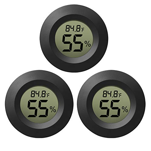 EEEKit Hygrometer Thermometer Digital LCD Monitor Indoor Outdoor Humidity Meter Gauge for Humidifiers Dehumidifiers Greenhouse Basement Babyroom, Black Round, Measure in Fahrenheit/Celsius, 3-Pack