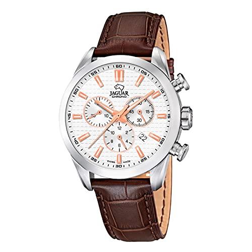 JAGUAR Reloj Modelo J866/1 de la colección ACAMAR, Caja de 43 mm Plata con Correa de Piel marrón para Caballero