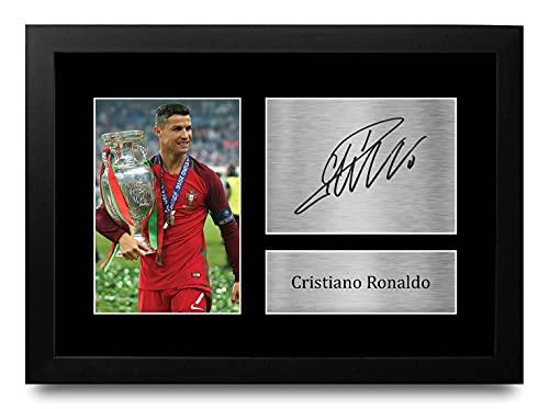 HWC Trading Cristiano Ronaldo A4 Gerahmte Signiert Gedruckt Autogramme Bild Druck-Fotoanzeige Geschenk Für Portugal Fußball Fans