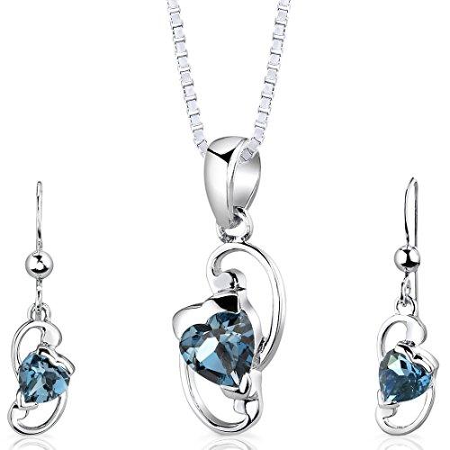 Revoni Damen Anhänger Ohrringe Schmuckset 925 Sterlingsilber London Blau Topas 2.00 Karat mit Silber Halskette 46 cm