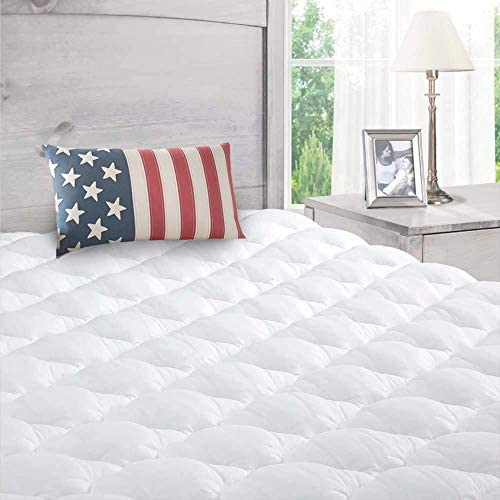 ExceptionalSheets Bamboo Mattress Pad with Fitted Skirt - Extra Plush Rayon from Bamboo Cooling Topper - Removable Pillowtop Mattress Pad - King Size