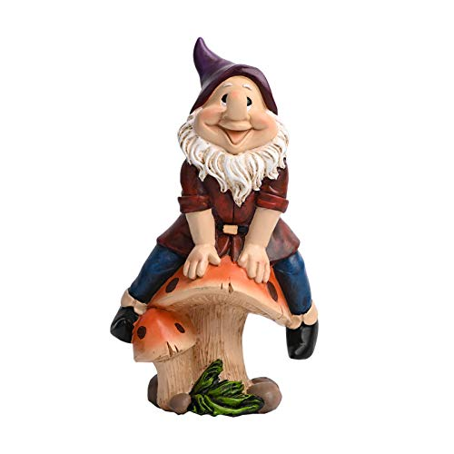Miada Garden Gnomes Outdoor Statue Ornament- Outdoor Decor Polyresin Gnome Sit on Mashroom, Waterproof Resin Ornament for Yard Lawn Fall Decorations and Gift