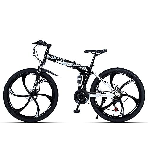 BAIYUEGUANG Bici Ergonomic Mountain Bike Black Para Mujer O Hombres, Neumáticos Antideslizantes Para Montañas Y Calles, Coche De Acero Al Carbono, Bicicleta De Montaña Para Adultos, Bic(Size:24 speed)