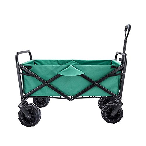XINTONGSPP Folding Portable Shopping Trolley, Outdoor Four-Wheel Trolley Trolley, Multifunctional Camping And Fishing Small Trailer, Load-Bearing 80KG, Green