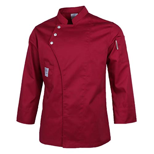 freneci Chaqueta de Chef para Hombre Y Mujer Abrigo de Manga Larga Camisa de Camareros Uniformes de Cocina de Hotel - Rojo, M
