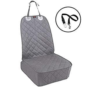 HONEST OUTFITTERS Dog Car Seat Covers, Pet Front Cover for Cars, Trucks, and Suv's – Waterproof & Nonslip Dog Seat Cover(Gray)