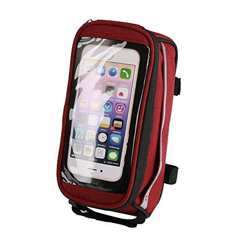 B-SOUL - Bolsa de almacenamiento para teléfono con marco frontal para bicicleta, cierre de gancho, bolsa para bicicleta (rojo)