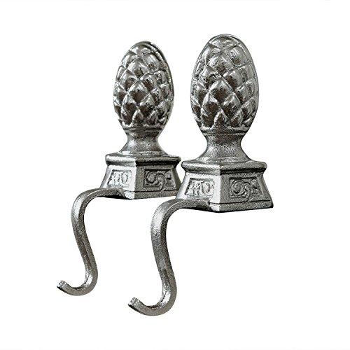 Loberon Aluminiumzapfen 2er Set Lucielle, Aluminium, H/B/T ca. 22/12.5/6 cm, Silber
