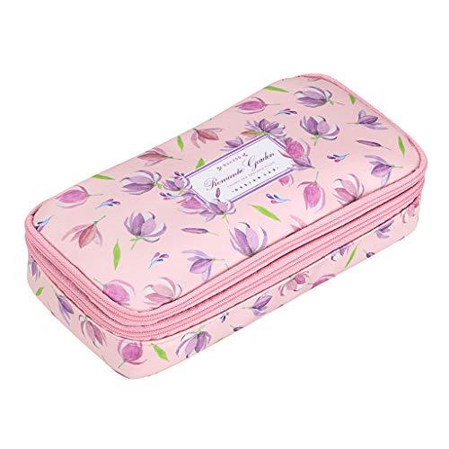 BTSKY Doppelschichtige multifunktionale wasserdichte Retro-Blumen-Federmäppchen mit Blumenmuster, Make-up-Tasche, Reißverschlusstasche,...