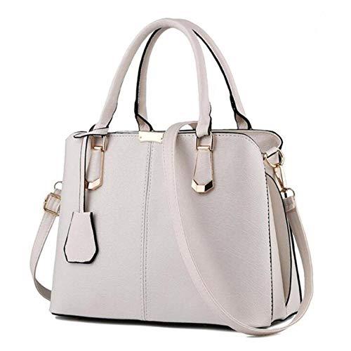 A-Gavvzq Fashion Trend Soft Tote Umhängetasche Frauen Handtasche Pu-Leder Umhängetasche Lässig Umhängetasche Weiblich, Reis Weiß