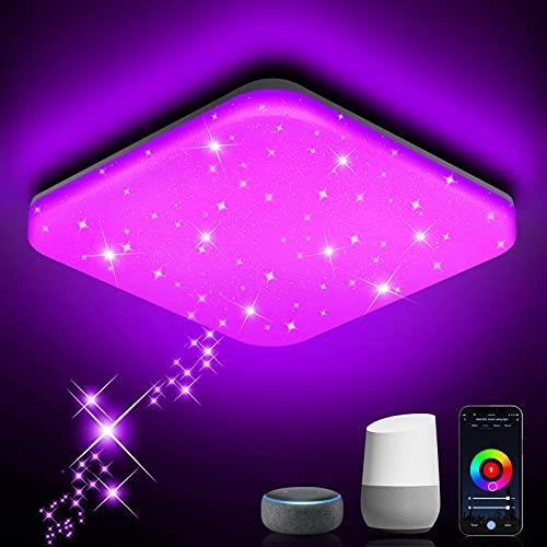 NIXIUKOL Plafon LED Techo Regulable 24W lampara techo Iluminación Rgb De Control De Aplicación De Soporte, Compatible con Alexa Google Home Lampara Techo Luz para Salón, Dormitorio, Cocina 33cm