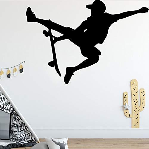 Skateboarder Figure Design Wandaufkleber für Kinderzimmer Hintergrund Kreative Wandgestaltung Aufkleber Home Decor Braun XL 58cm X 87cm