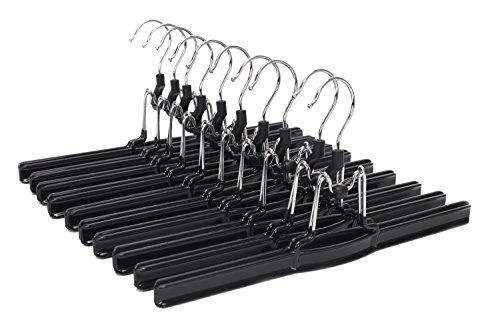 J.S. Hanger Perchas Antideslizantes, de Metal sólido para Pantalones Anchos y Faldas, con Gancho Giratorio, Color Negro (10 Unidades)