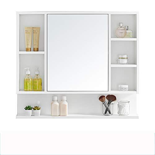 Haozai spiegel kabinet, medicijnkastje met verstelbare plank en 3 open compartimenten, badkamer muur opbergkast, hout, wit 1214