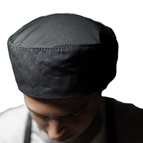 Chef Hat Beanie | Adjustable Velcro Strap Chef Cap | Breathable Cotton Chef Skull Cap with Mesh Top | Kitchen Beanie Compliments Any Uniform | Chef Hats for Men & Women | One Size Fits Most (Black)