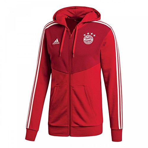 adidas Herren FC Bayern 3S Full Zip Hoodie Kapuzenjacke, FCB True red/Strong red/Grey one f17, S