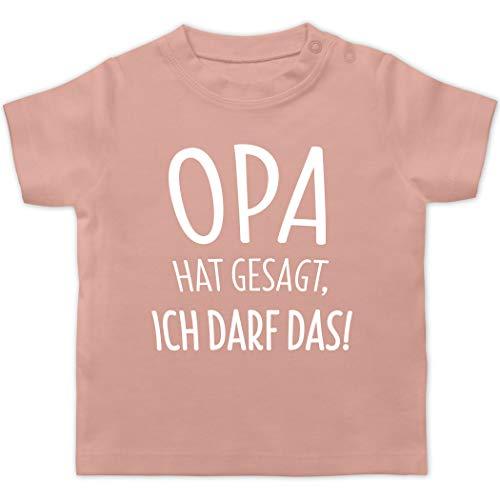 Sprüche Baby - Opa hat gesagt ich darf das - 18/24 Monate - Babyrosa - sprüche t Shirt Kinder - BZ02 - Baby T-Shirt Kurzarm