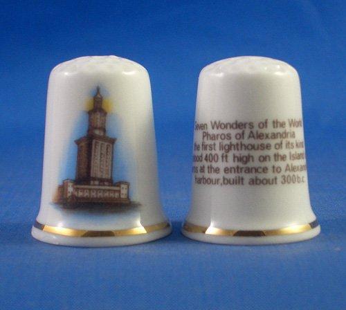 Porcelana China cobrable dedal de siete maravillas del mundo ---Faros de Alejandría