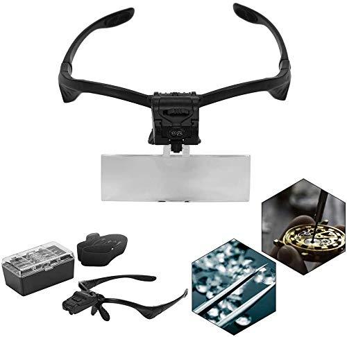 Lupenbrille Hände Frei Kopfband Lupen Standlupe,Vergrößerungsglas für den Kopf, LED Vergrößerungsglas, Vergrößerungsglas, für Uhr, Reparatur, Wimpernverlängerung