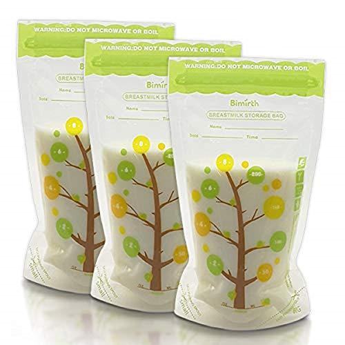112 bolsas de almacenamiento para leche materna de 235 ml, contenedor de almacenamiento para congelador, sin BPA, bolsa preesterilizada a prueba de fugas con medidas