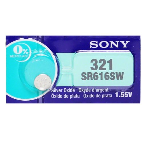 Sony 321 (SR616SW) 1.55V Silver Oxide 0%Hg Mercury Free Watch Battery (2 Batteries)