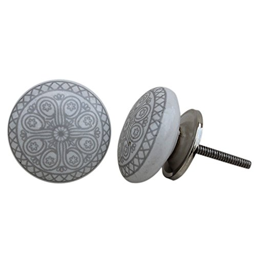 Artncraft 12 Knobs White & Grey Hand Painted Ceramic Knobs Cabinet Drawer Pull (Gray)