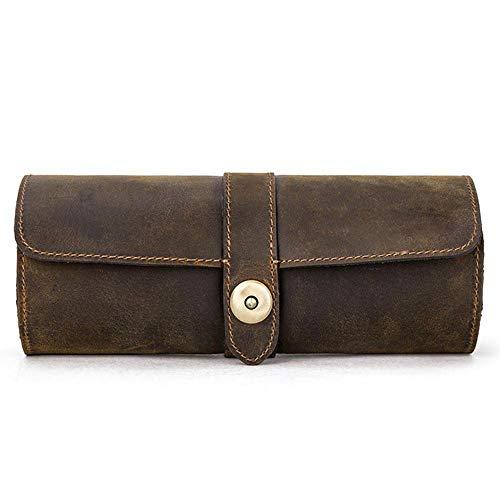 caja de presentación con rollo de reloj Caja de viaje de cuero Relojes de pulsera Bolsa de almacenamiento de 3 ranuras para hombres y mujeres