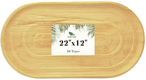 Charity Leaf Disposable Palm Leaf Trays Like Bamboo EXTRA Large Serving Trays and Platters   Weddings, Charcuterie Boards, BBQs, and Parties   22' x 12' Inch Oval (10 Trays)
