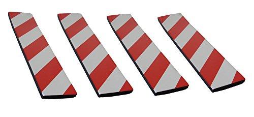 SNS SAFETY LTD Pare-chocs en Caoutchouc Mousse Adhésives, pour Protéger les Portières de Voiture en les Appliquant aux Murs dans les Garages, 4 pièces (44x10x1,5cm, Rouge Blanc)