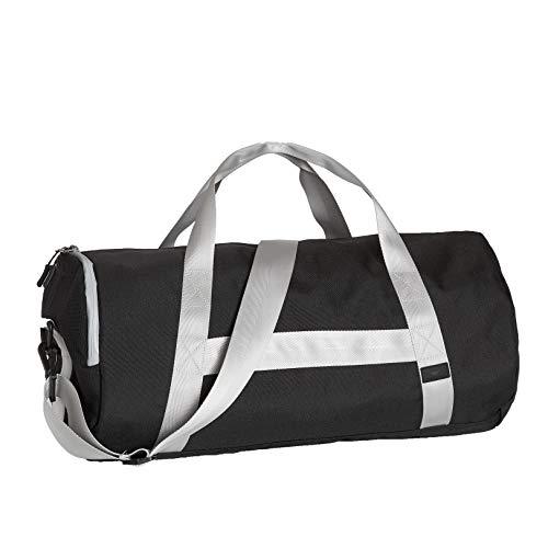 Fjordlaender Sporttasche mit Schuhfach und abnehmbarem Schulterriemen - Fitnesstasche Reisetasche Duffelbag - schwarz