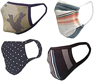 Cotton Cloth pack of 4 Face Mask Washable Reusable Face Masks Soft Earloop/Mouth Nose Cover face masks Men Women Kids Unis...