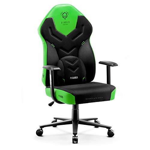 Diablo X-Gamer 2.0 Gaming Stuhl Bürostuhl Stoffbezug Ergonomisches Design Lendenwirbelkissen Softpadauflage (Schwarz-Grün)
