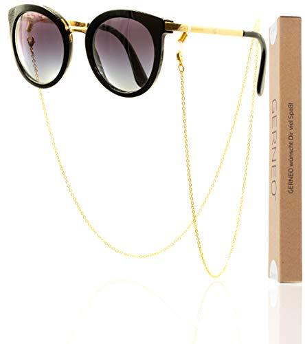 GERNEO - DAS ORIGINAL - Premium Brillenkette Damen & Brillenband Damen in diversen Farben - 18 Karat vergoldet in Gold - Unisex für Lesebrille & Sonnenbrille - Kollektion 2020