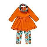 Boshivw Conjunto de ropa para niña para regalo, conjunto de ropa para bebé, mono con estampado de calabaza, pantalón y cinta para el pelo para 1-6 años, naranja, 90 cm