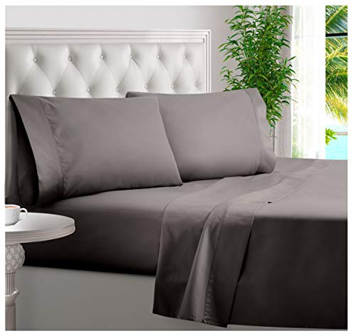 BAMPURE 100% Organic Bamboo Sheets - Bamboo Bed Sheets Organic Sheets Deep Pocket Sheets Bed Set Cooling Sheets Queen Size, Stone Gray
